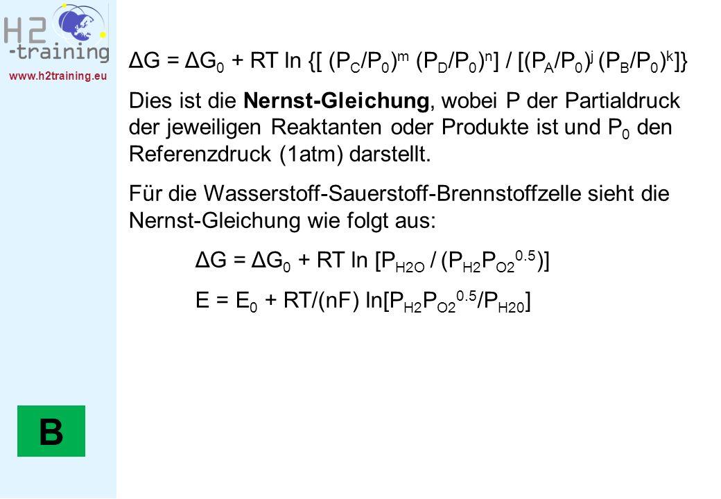 B ΔG = ΔG0 + RT ln {[ (PC/P0)m (PD/P0)n] / [(PA/P0)j (PB/P0)k]}